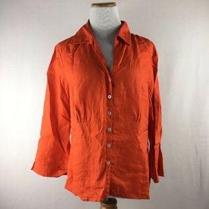 Jones New York Collection Linen Button Up Shirt